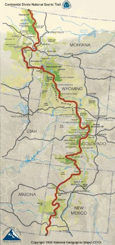 The Continental Divide Trail. It travels along the Rocky Mountains from Mexico all the way to Canada. It takes approximately 6 months to hike the trail. I hope to accomplish this within the next three years. Thru Hiking, Camping And Hiking, Hiking Trails, Hiking Maps, Hiking Gear List, Backpacking Tips, Camping Ideas, Places To Travel, Places To Go