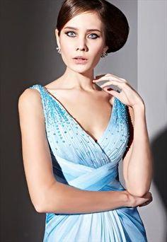 Blue Gradient Woven V-neck Prom Dress  81069