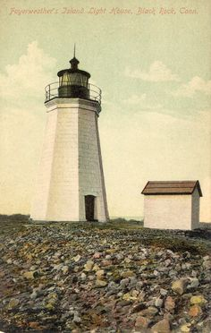 Fayerweather Light Postcard from Connecticut History Illustrated
