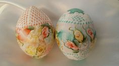Hand Painted Egg Gourds Easter Cottage Chic Shabby Roses Hydrangeas Lace HP