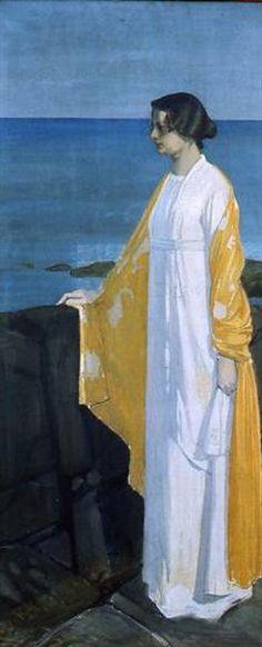 Portrait of the wife of the artist by the sea, 1912  by Oskar Zwintscher (German 1870-1916)