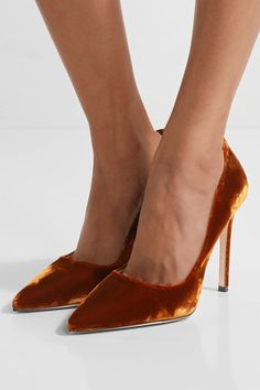 Heel measures approximately 110mm/ 4.5 inches Tan velvet  Slip on Designer color: Tobacco  Made in Italy