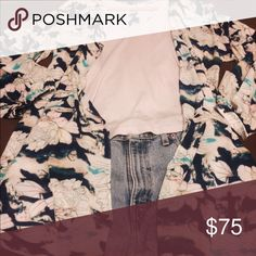 Flynn Skye Kimono Floral pattern Flynn Skye Kimono goes perfectly with a pair of high waisted shorts and  cute cutout tank. Perfect with a pair of sandals, for the a casual bohemian look. Flynn Skye Tops