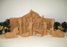 free standing lace nativity set by floursackfun on Etsy, $70.00