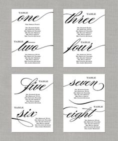 "Printable Wedding Seating Chart 5x7"" seating chart idea for a wedding"