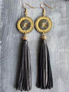 Tassel earrings. Leather earrings. Leather tassel by VelmaJewelry