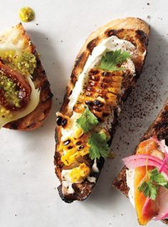 epicurious: On a corn streak: Grilled Corn, Crema Mexicana & Cilantro Crostini (Bon Appetit, June Think Food, I Love Food, Good Food, Yummy Food, Bruschetta, Chefs, Mexican Food Recipes, Vegetarian Recipes, Comida Latina