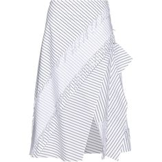 Cédric Charlier Layered pinstriped cotton skirt ($335) ❤ liked on Polyvore featuring skirts, black and white skirt, slit skirt, cotton skirts, tiered cotton skirt and cotton knee length skirt