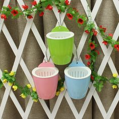 S/M/L Self-Watering Plant Flower Pot Wall Hanging Plastic Planter Nursery Pots Bonsai Hanging Basket Home Garden Decoration #Affiliate