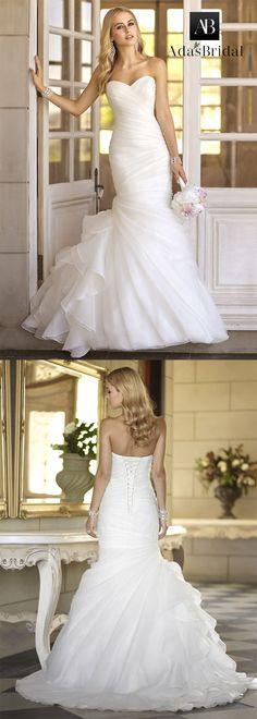 NEW! In Stock Attractive Organza Satin Sweetheart Neckline Mermaid Wedding Dresses