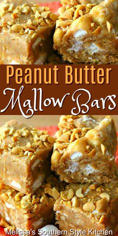 Whether you're hosting a birthday party, packing for a picnic or making sweets for the holidays, Peanut Butter Mallow Bars will make a fabulous addition. Candy Recipes, Sweet Recipes, Baking Recipes, Cookie Recipes, Bar Recipes, Potluck Recipes, Fudge Recipes, Detox Recipes, Family Recipes
