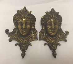 Pair of Brass Women's Heads Wall Ornaments Decorative Vintage