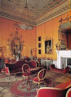 Yellow Drawing Room circa 1759. Harewood House, Harewood near Leeds, West Yorkshire, England.... http://www.castlesandmanorhouses.com/photos.htm Harewood House is a country house in designed by architects John Carr and Robert Adam, it was built between 1759 and 1771 for wealthy trader Edwin Lascelles, 1st Baron Harewood.