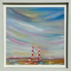 Early morning over the Poolbeg Chimneys: Early morning over the Poolbeg Chimneys is a painting of the Iconic Chimneys as seen… Irish Art, Early Morning, Red And White, Art Pieces, Art Gallery, Skyline, Ink, Dublin, Artwork