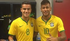 Neymar shared a 'then and now' picture with Philippe Coutinho with the duo on Brazil international duty
