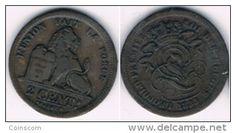 Belgium -2 centimes - Léopold Ier KM# 4 1833  VF/TTB  RARE  CHEAP