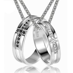 Matching Rings Silver Necklaces for Couples with Custom Names - Engraved Couples Necklaces - Personalized Jewelry for 2 Personalized Couples Gifts | His Her Necklaces and Bracelets | Engraved Wedding Rings | Couples Clothing $59.00
