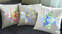 star quilt pillows with linen