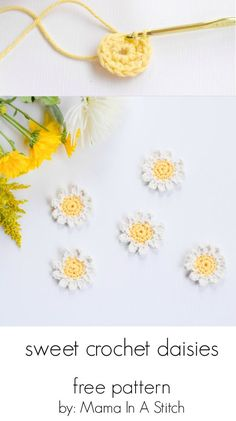 Sweet Daisies – Free Flower Crochet Pattern. Such a fun and simple warm weather craft project! This post also shows you how to make them into napkin rings. #freepattern #crochet #flowers: