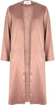 River Island Womens Pink embroidered duster jacket