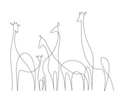 Small drawings, simple animal drawings, animal line drawings, easy giraff. Single Line Drawing, Continuous Line Drawing, Illustration Ligne, One Line Animals, Art Sketches, Art Drawings, Drawing Portraits, Small Drawings, Horse Drawings