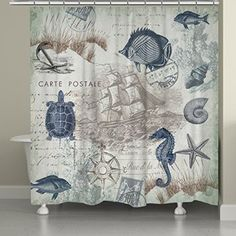 Laural Home Vintage Coastal Pattern Seaside Maritime Shower Curtain Blue/Green   It is easy to find the perfect gift for lighthouse lovers when you know they love lighthouse home décor and accents that make them think of lighthouses.  Lighthouses are nostalgic, historic and adorable which is a great reason to find inspiration by this type of sea side home décor.   Lighthouse home décor can be used in any room of the home and is the perfect theme to center your home decoration around.