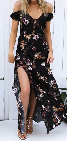 Open shoulder dresses are the perfect choice for summer evening. Perfect wear with a pair of black strappy high heels.