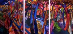 RUSS VOGT, UNTITLED LANDSCAPE (605, 606, & 607), Oil on Canvas, 3 panels @ 67 x 45""