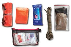 Fanny pack survival kit: Space blanket, poncho, pack of antibacterial wipes, 40-foot hank of parachute cord, waterproof pouch with 1 extra pair of socks and 1 extra pair of underwear, small medical kit | Field & Stream