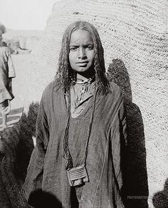 Africa | Portrait of Bisharin girl. Egypt. ca. 1900-1920. | Photographer unknown { Matson Collection}