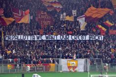 AS Roma - Torino curva sud: Mr Pallotta we want our crest back ! As Roma, Baseball Cards, Sports, Hs Sports, Sport