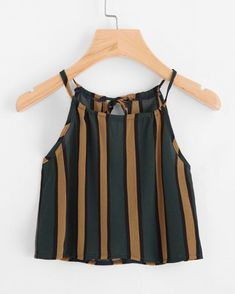 Vertical Striped Self Tie Back Cami Top - www.anabellas.co #anabellas #top #sinmanga #tirantes #rayas #casual