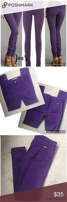 "Joe's The Skinny purple jeans 27 Bright purple Joe's The Skinny fit jeans with silver button fly closure and 5 pockets. Signature Joe's label on back pocket. 93% cotton, 6% spandex. Slight discoloration at back bottom left leg. Gently worn and in good condition. 14.5"" waist flat, 9"" rise, 30.5"" inseam. Bundle & save💖 Joe's Jeans Jeans Skinny"