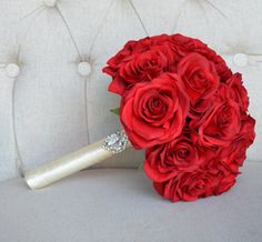 Red BRIDAL Bouquet. Real Touch Silk Roses. Brooch by KimeeKouture