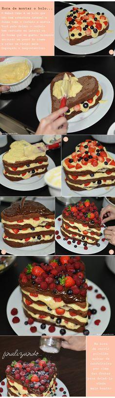 A receita de hoje vai agradar os olhos e o paladar. Uma receita fácil de Naked Cake com recheio de vanilla, cobertura de chocolate e muitas frutinhas.