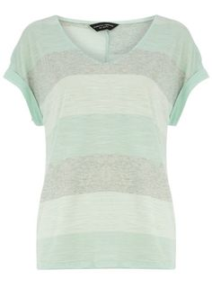 Dorothy Perkins Mint Marl Stripe V neck Tee - available in plus size
