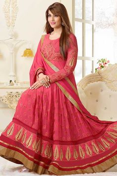 Pink Georgette, Contemporary, Designer, Andaaz premium Anarkali, Churidar, Dress Material Churidar Suit with and Floor Length Kameez with Pink Chiffon Duppata with price $121.79 . Top designed with Embroidered, Resham, Zari, Crystal work. This design is perfect for Party, Wedding, Festival, Ceremonial and Occasion Wear.(Slight variation in colour and patch border is possible.) in San Francisco US.  http://www.andaazfashion.us/pink-georgette-churidar-suit-dma12618.html