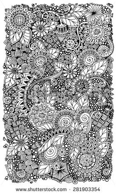 Ethnic floral zentangle, doodle background pattern circle in vector. Henna paisley mehndi doodles design tribal design element. Black and white pattern for coloring book for adults and kids. - Shutterstock Premier