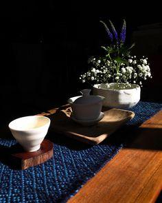 Green tea on a handwoven rose path inspired chabu