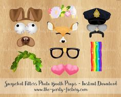 Snapchat Filters Photo Booth Props Instant by ThePartyFactoryWorld