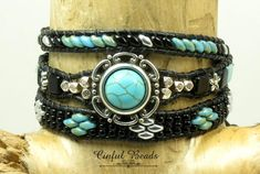 Turquoise And Black Triple Wrap Leather Bracelet, Turquoise Leather Cuff With Floral Focal Piece, Southwestern Boho Leather Wrap(TW27) by CinfulBeadCreations on Etsy