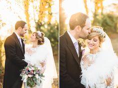 winter wedding photography in golden light with feather fur shrug