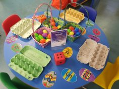 Roll the dice and count out that number of eggs. Repeat and count how many there are altogether Maths activity. Roll the dice and count out that number of eggs. Repeat and count how many there are altogether Eyfs Activities, Nursery Activities, Easter Activities, Spring Activities, Kindergarten Activities, Preschool Activities, Easter Art, Easter Crafts For Kids, Easter Eggs