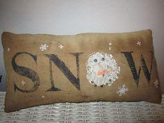 snow text / snowman pillow = cute idea