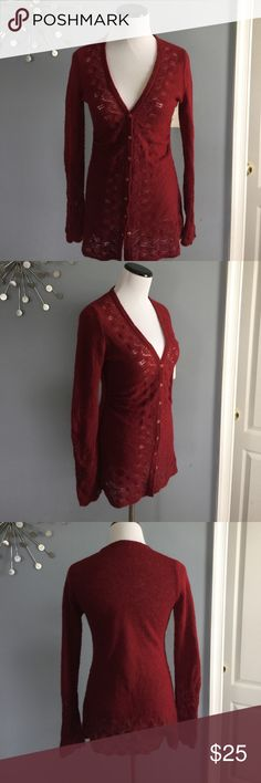 Anthropologie Rosie neira maroon cardigan Great condition. Worn three times Anthropologie Sweaters Cardigans