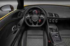 The 2017 Audi Spyder made its debut at the 2016 New York auto show looking sharper and sexier than ever. Upholstery Trim, Upholstery Cleaning, Upholstery Cushions, Audi R8 Spyder, Audi R8 Wallpaper, Interior Wallpaper, New Audi R8, Audi Interior, Cars