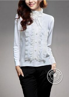 Grace High Neck Frills Lace Detail Women Pullover Sweater on BuyTrends.com, only price $18.75