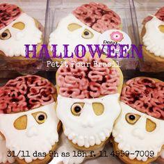 Brain skull decorated cookies! Halloween