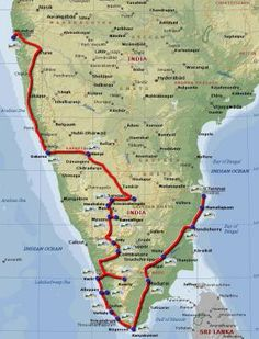 Travel route map around South India