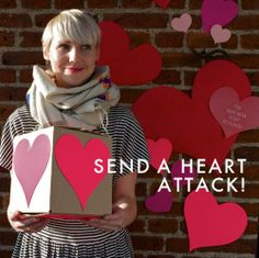 """Send a heart attack. (write one thing you love about them on each heart)"""" What a great way (and inexpensive) to lift your loved up while apart"""